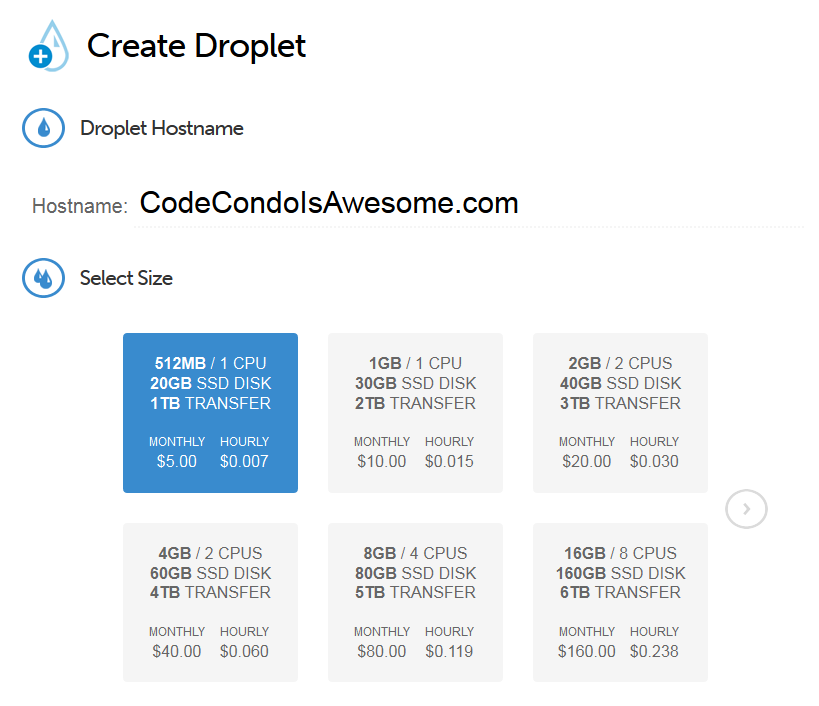 DigitalOcean create a droplet