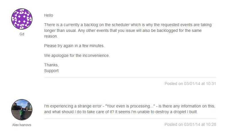 DigitalOcean support review