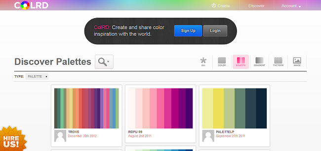Discover Palettes — Art & Design Inspiration at ColRD_com