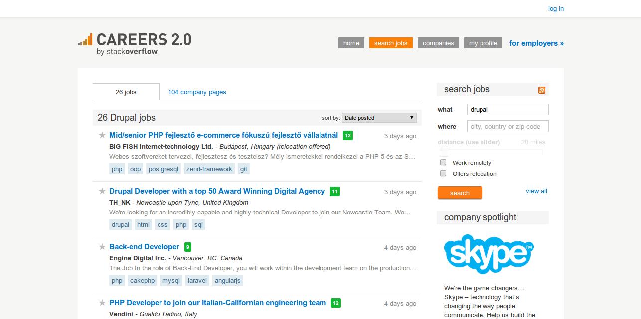Drupal Job Listings   Stack Overflow Careers 2.0