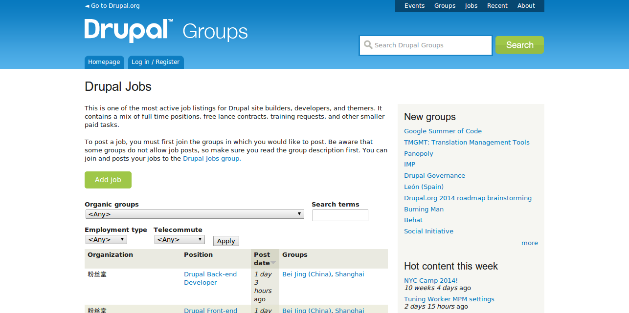 Drupal Jobs   Drupal Groups