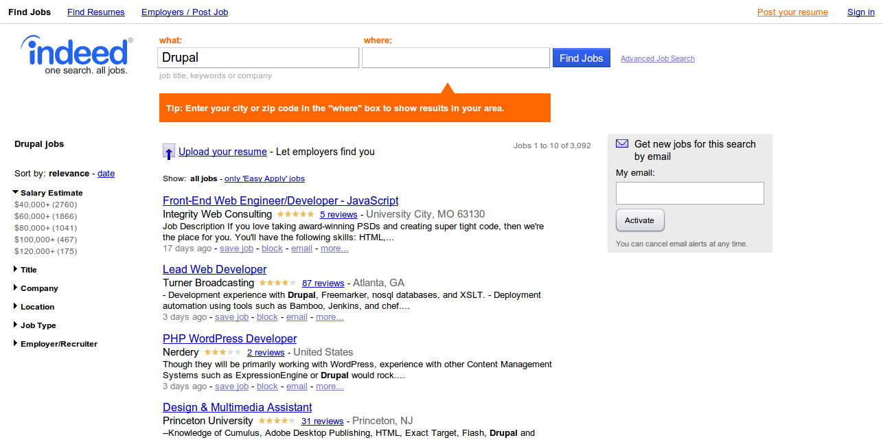 Drupal Jobs Employment Indeed.com