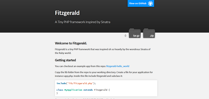 Fitzgerald, the PHP micro framework