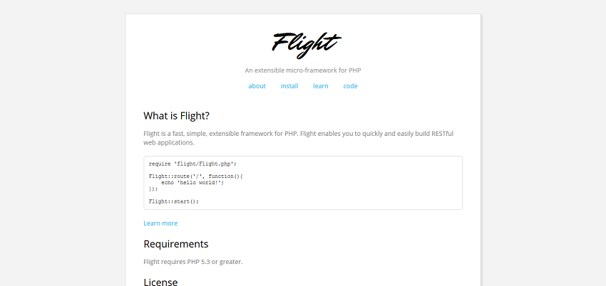 Flight - An extensible micro-framework for PHP