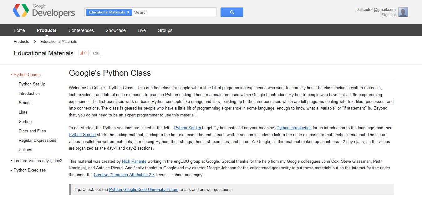 Google's Python Class - Educational Materials — Google Developers