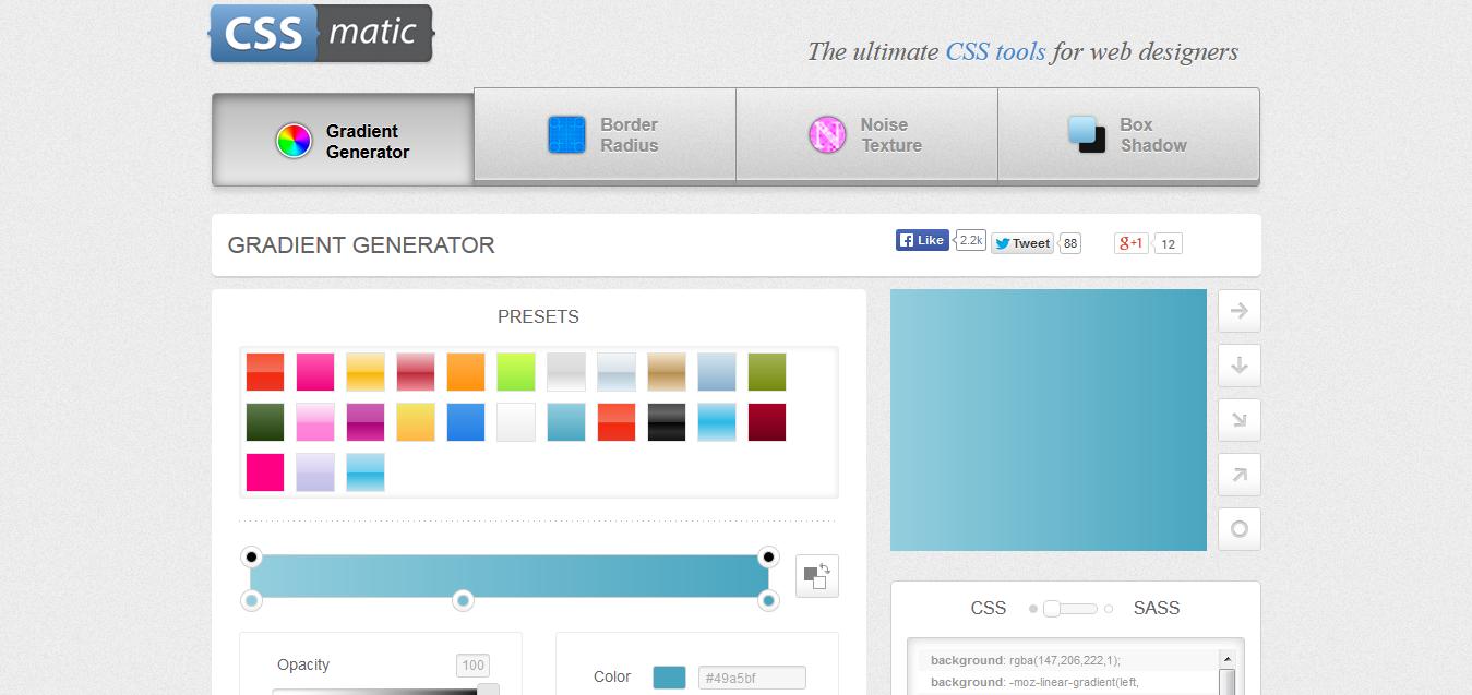 Gradient CSS Generator I CSSmatic