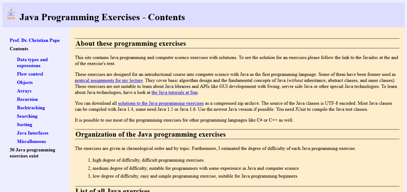 Java Programming Exercises