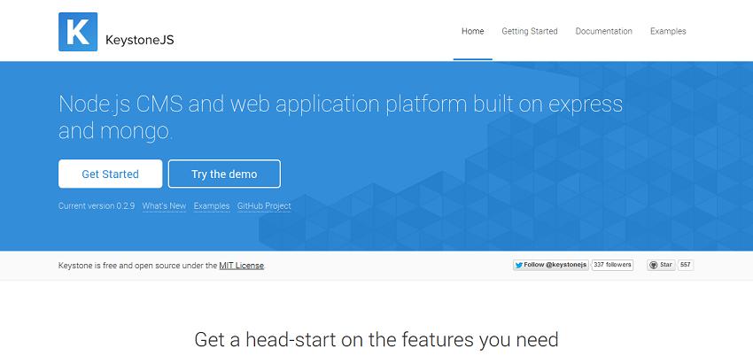 KeystoneJS · Node_js cms and web application platform built on Express and MongoDB