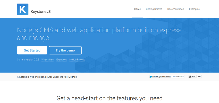 KeystoneJS · Node_js cms and web application platform built on Express and MongoDB