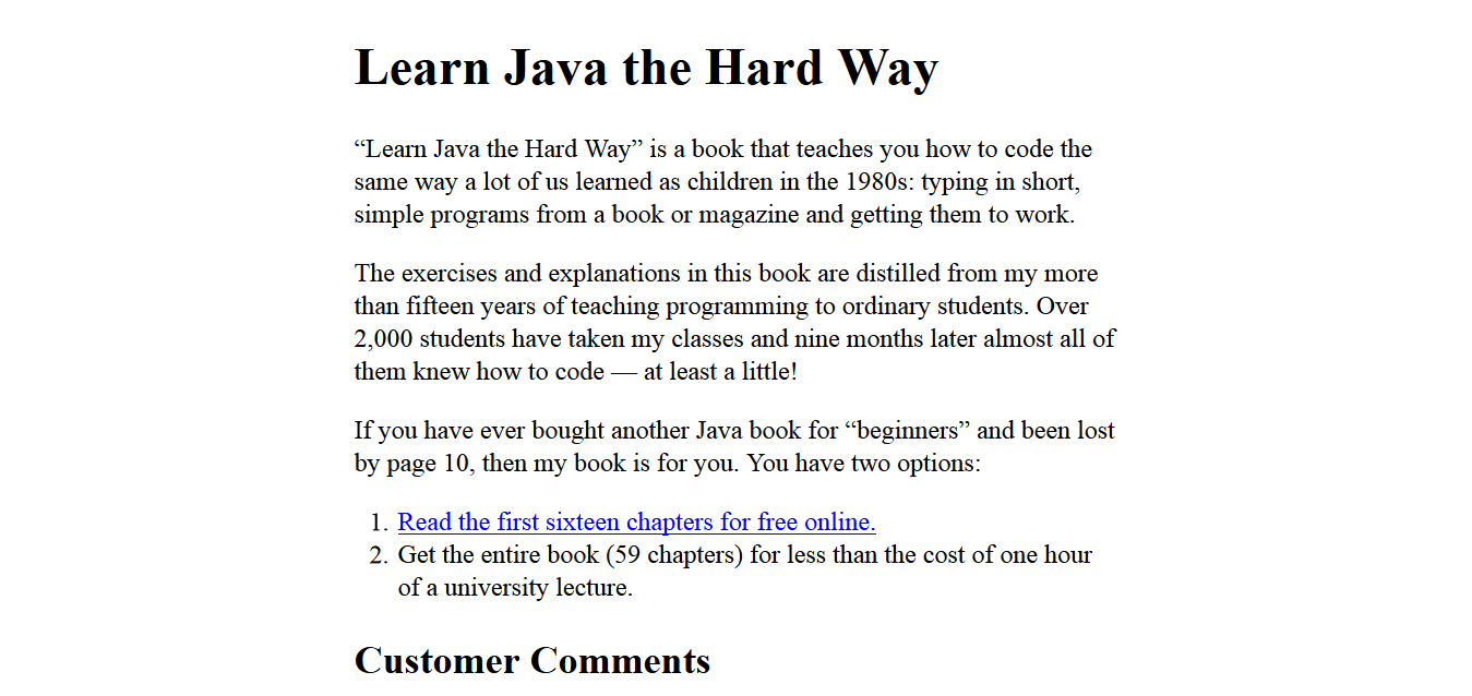 Learn Java the Hard Way