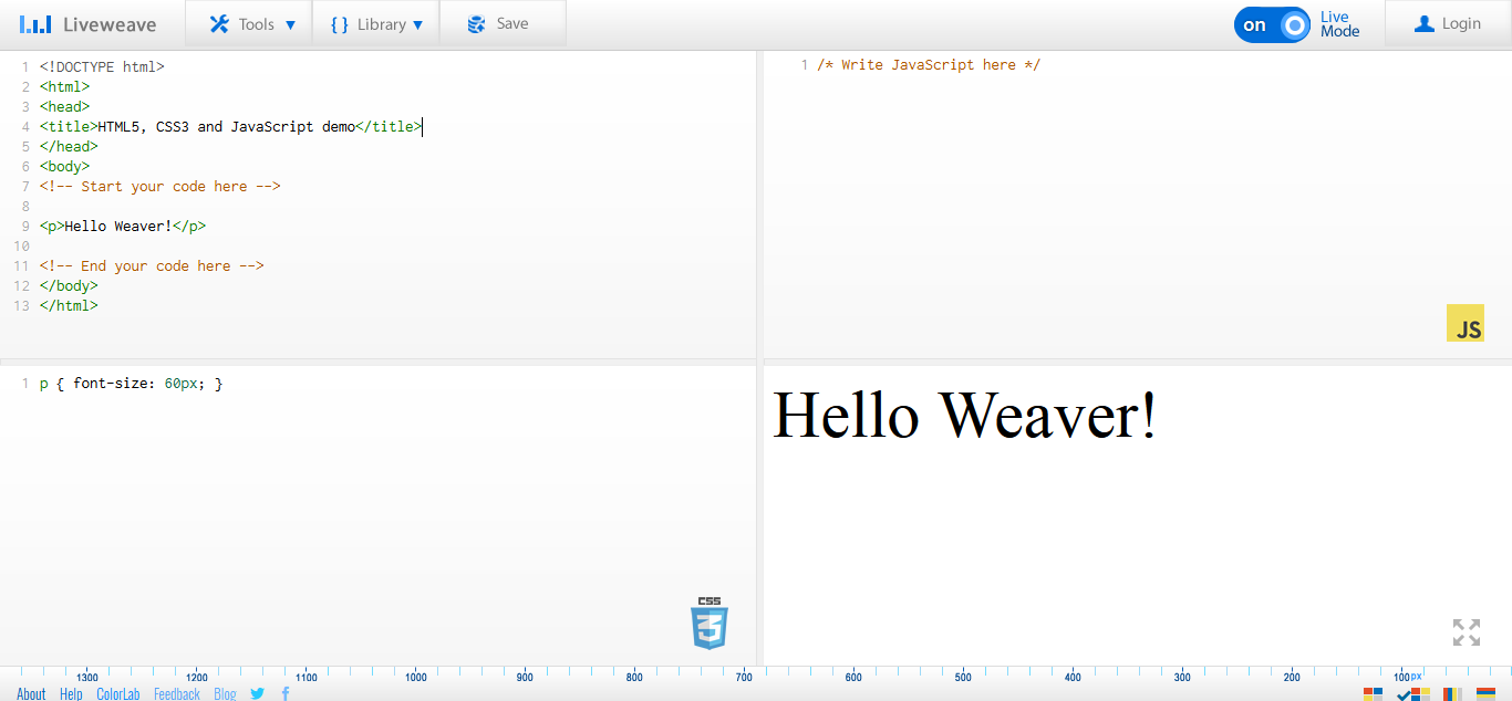 Liveweave - HTML5, CSS3 & JavaScript playground for web designers & developers