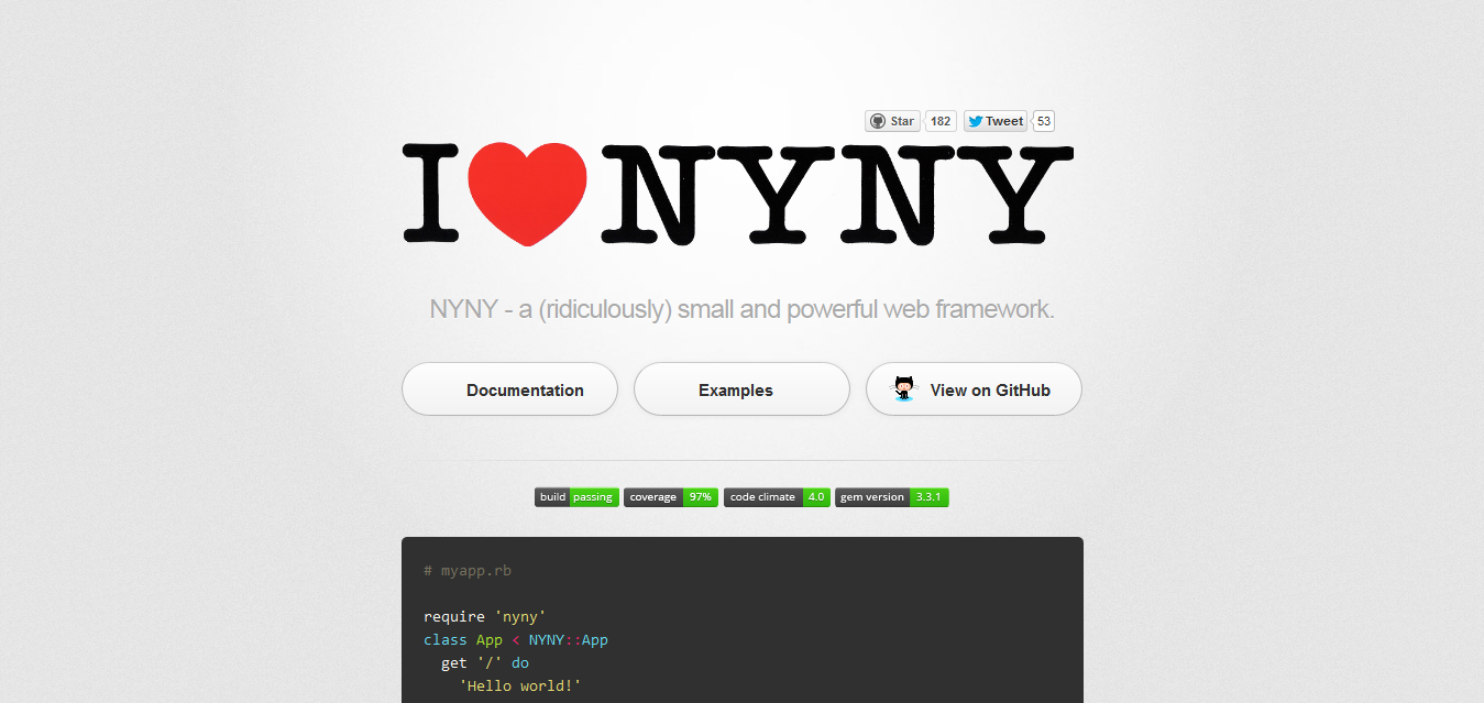 NYNY - a (ridiculously) small and powerful web framework