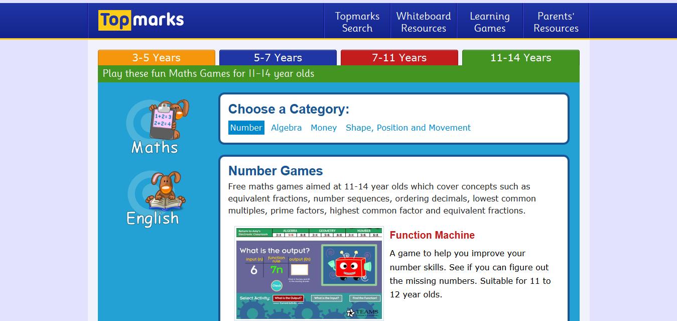 Number Games for Key Stage 3 children