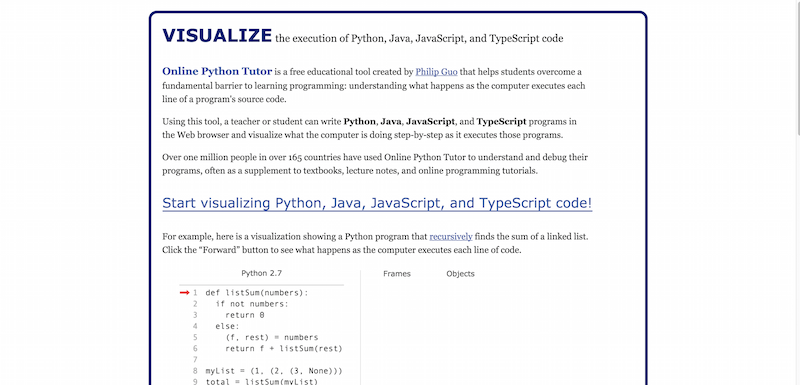 Online Python Tutor   Visualize Python  Java  JavaScript  and TypeScript code