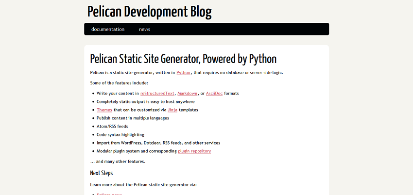 Pelican Static Site Generator, Powered by Python