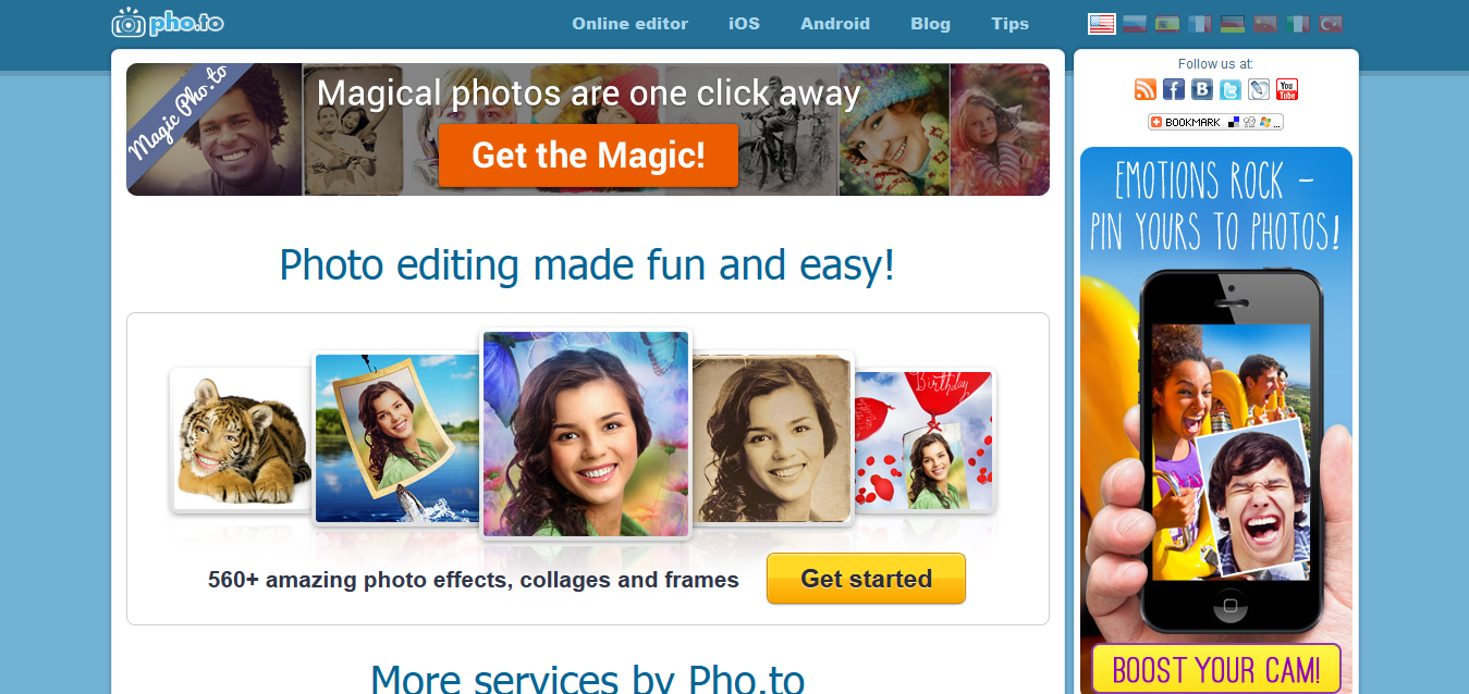Pho_to - online photo editor, fun effects and tools, free software