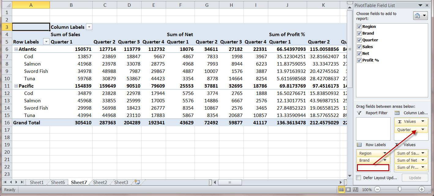 Pivot Table Excel 2010