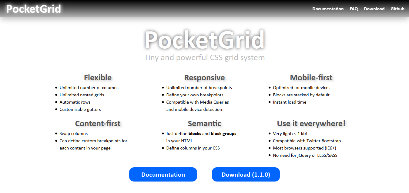 PocketGrid - Pure CSS responsive and semantic grid system