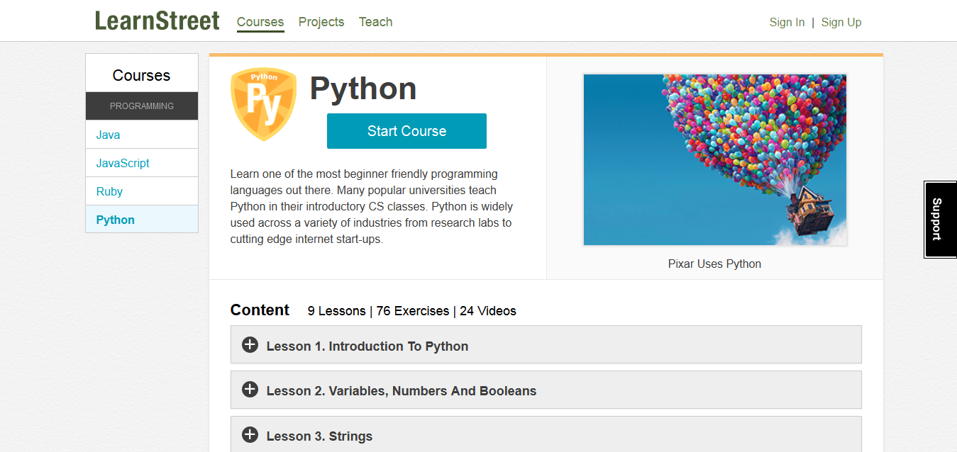Python at Learnstreet