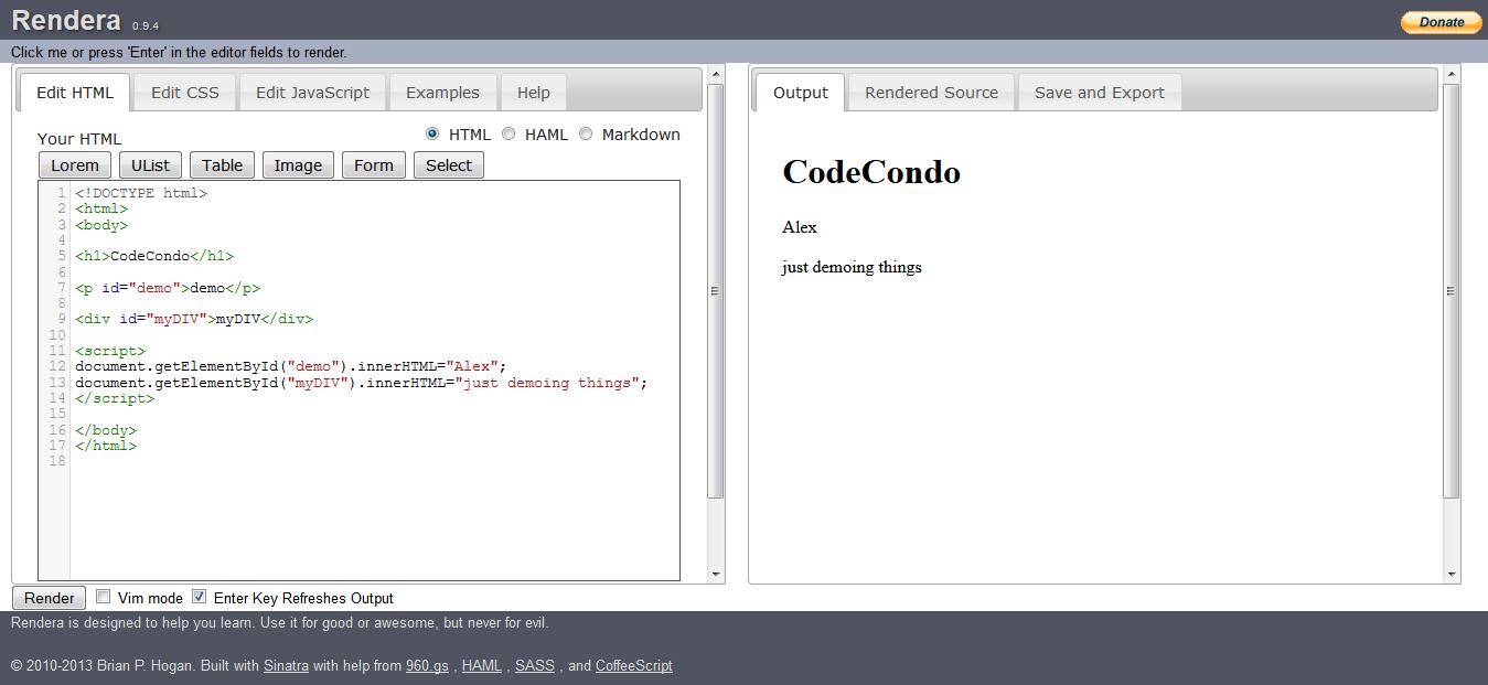 Rendera - Online HTML5 Editor