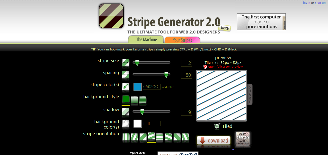 Stripe Generator - ajax diagonal stripes background designer