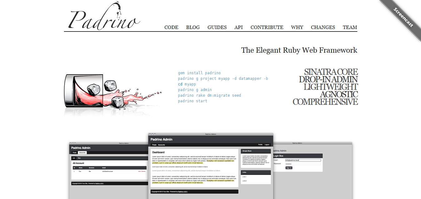 The Elegant Ruby Web Framework - Padrino Ruby Web Framework
