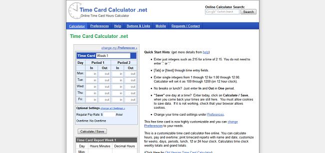 calculate time card