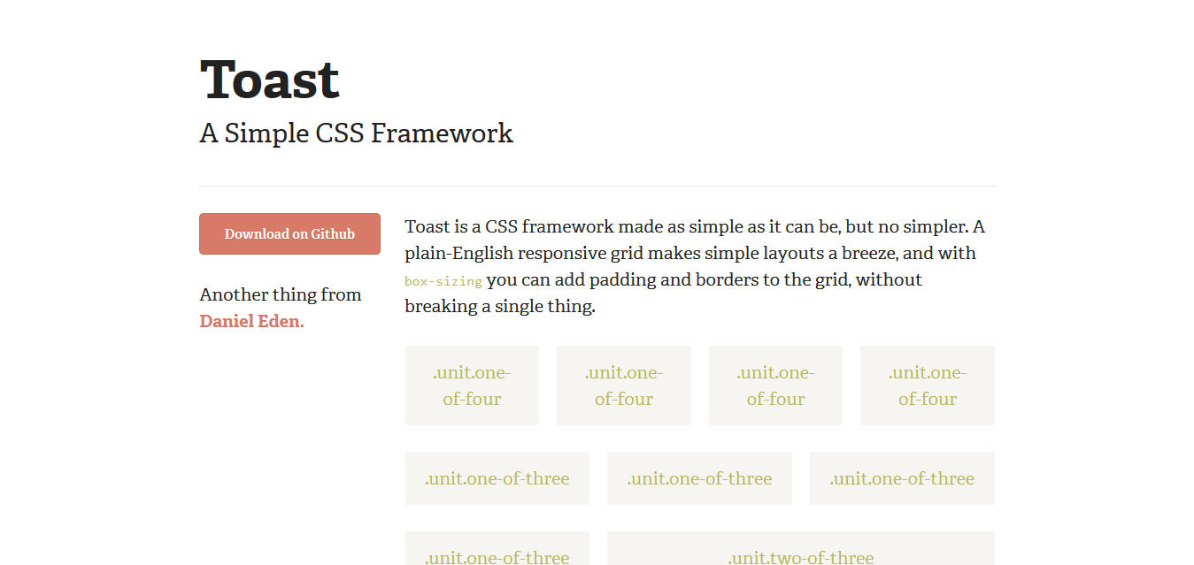 Toast I A Simple CSS Framework