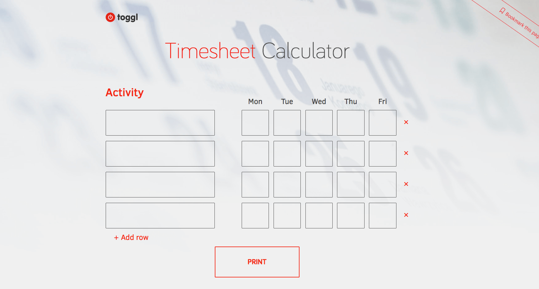 Toggl's Timesheet Template