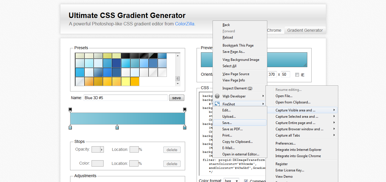 Ultimate CSS Gradient Generator - ColorZilla_com