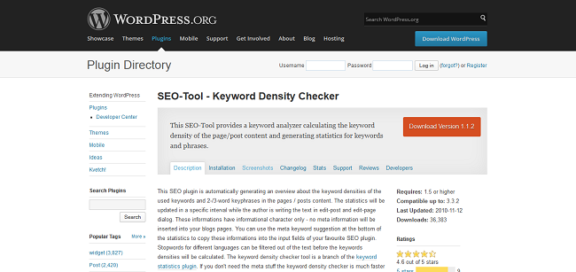 WordPress › SEO-Tool - Keyword Density Checker « WordPress Plugins