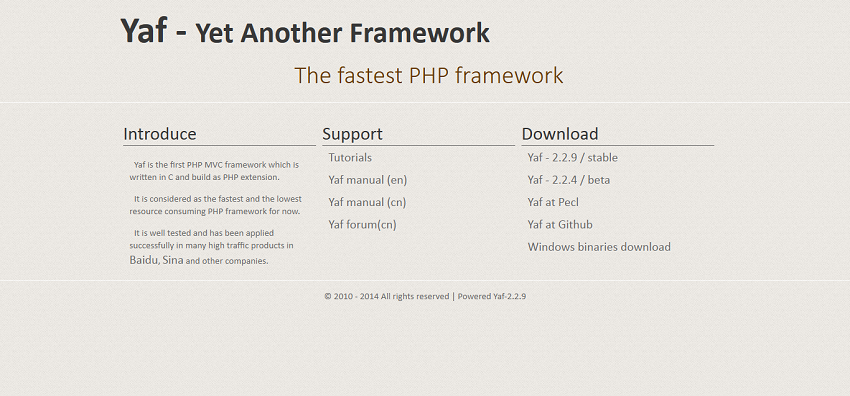 Yaf - The fastest PHP framework