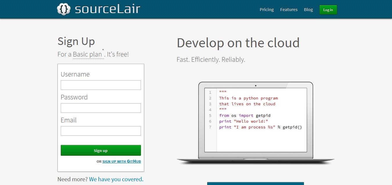 sourceLair · online IDE for Django, Python, JavaScript, HTML_CSS