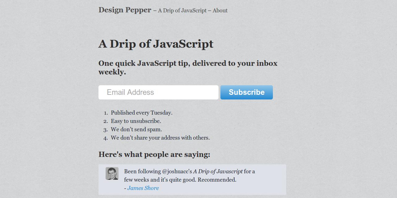 A Drip of JavaScript · Design Pepper