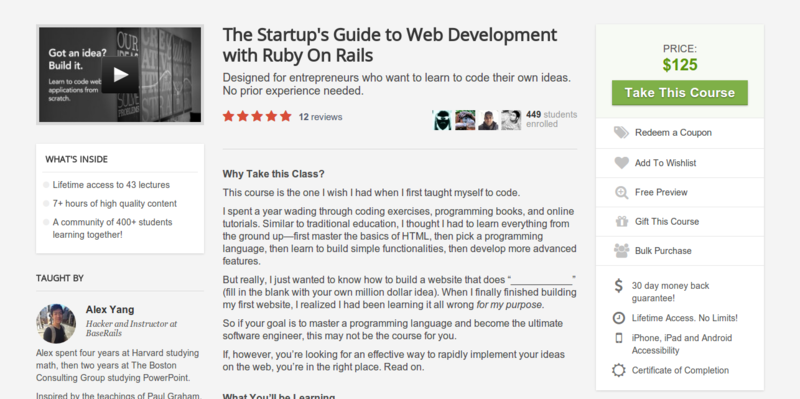 Alex Yang: Ruby On Rails for Entrepreneurs & Startups