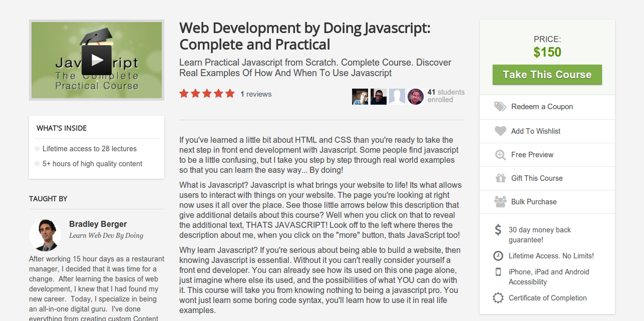 Bradley Berger: Learn Practical Javascript from Scratch