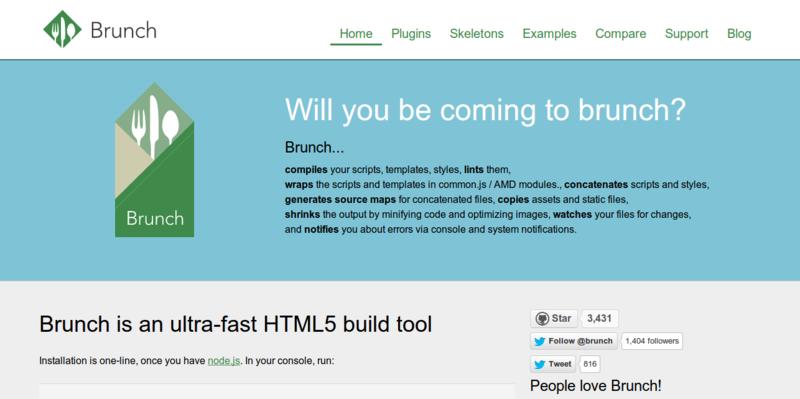 Brunch ultra fast HTML5 build tool