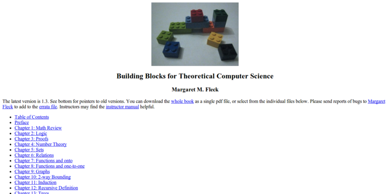 Building Blocks for Theoretical Computer Science