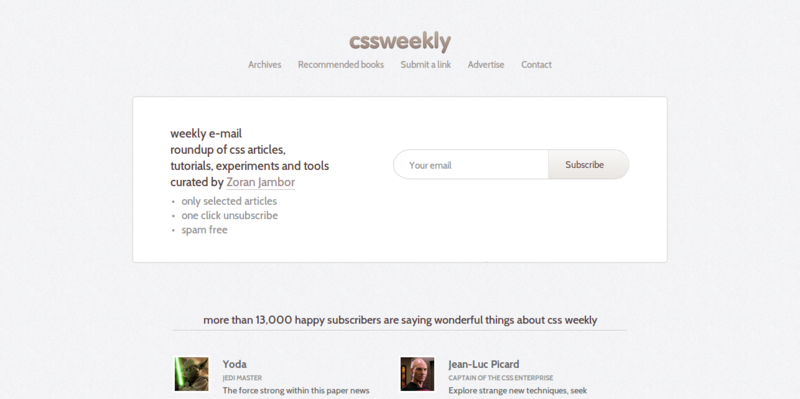 CSS Weekly — Weekly e mail roundup of latest CSS articles  tutorials  tools and experiments