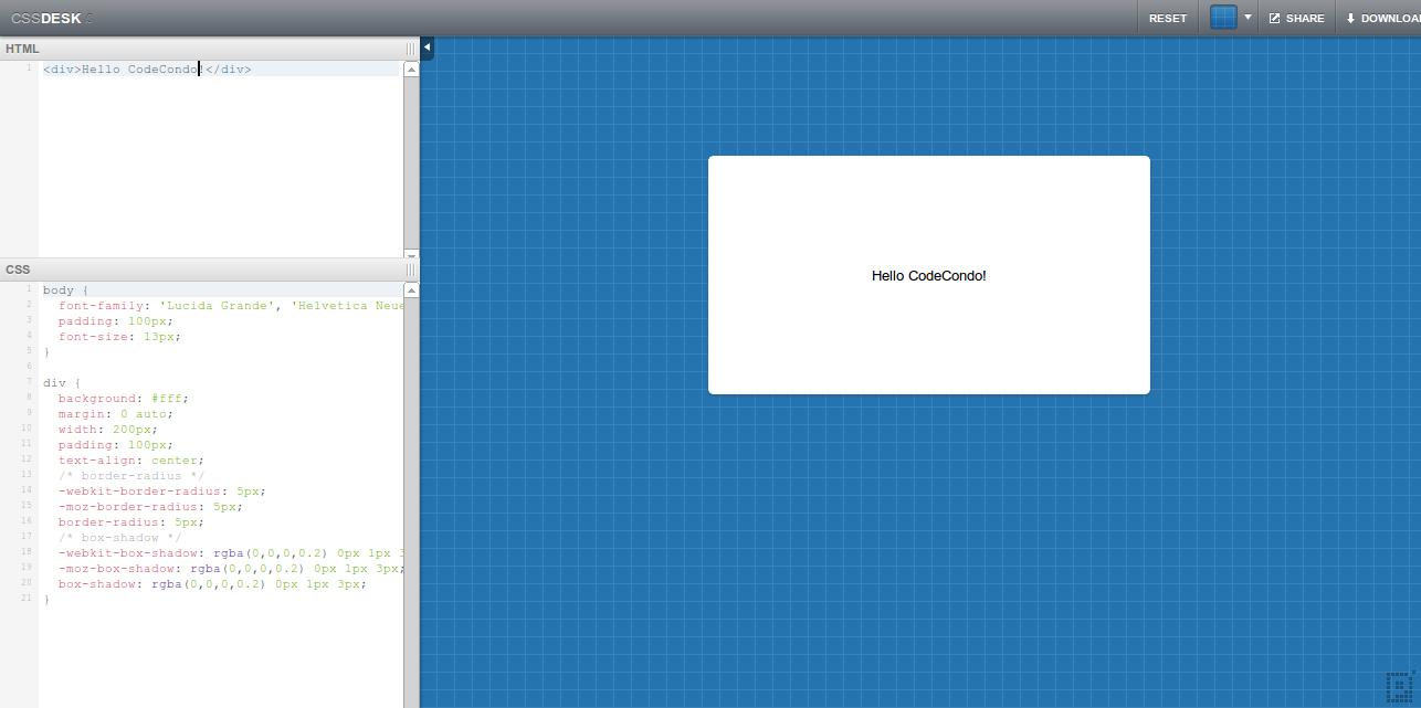 CSSDesk   Online CSS Sandbox