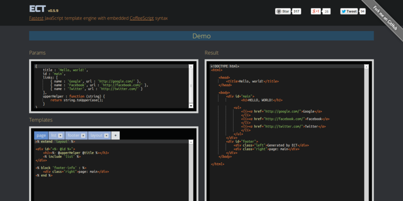 ECT Fastest JavaScript template engine with CoffeeScript syntax