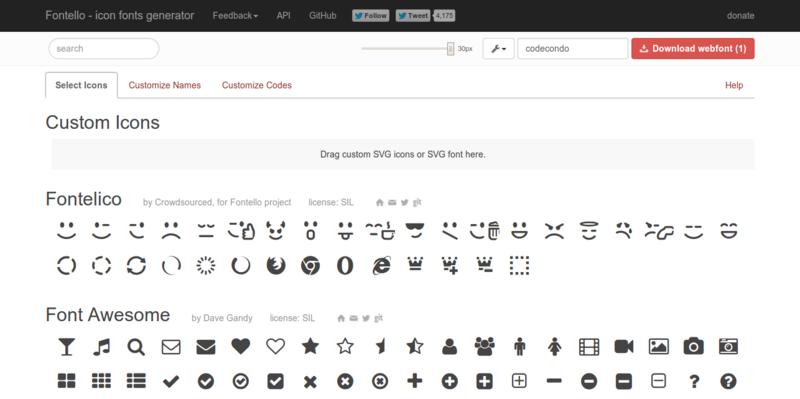 Fontello icon fonts generator