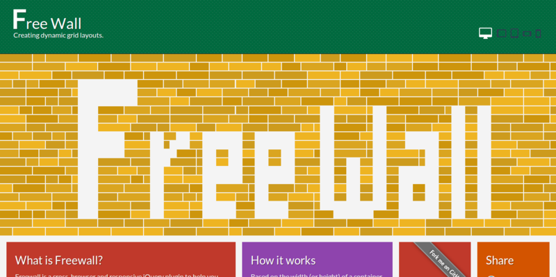 Freewall jQuery plugin for creating grid layouts