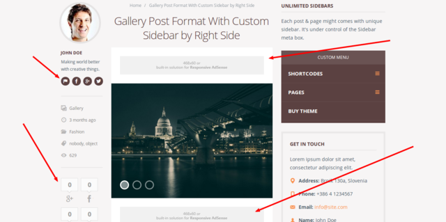 Gallery Post Format With Custom Sidebar by Right Side   Truemag