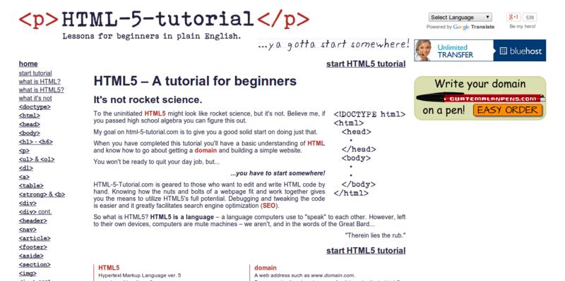 HTML5 Tutorial HTML 5 Tutorial