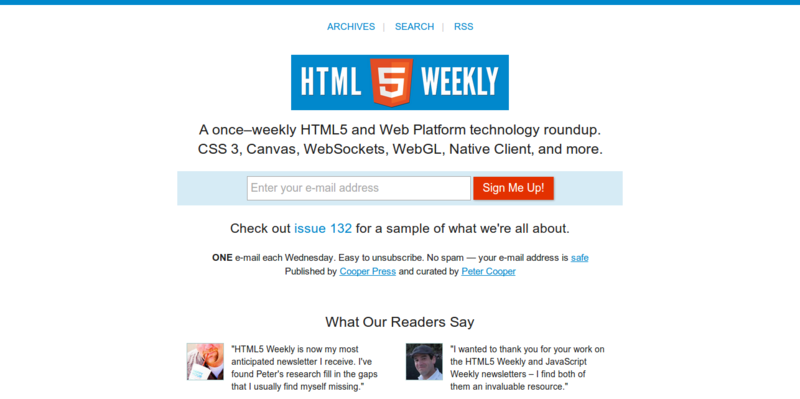 HTML5 Weekly  A Free  Weekly Email Newsletter