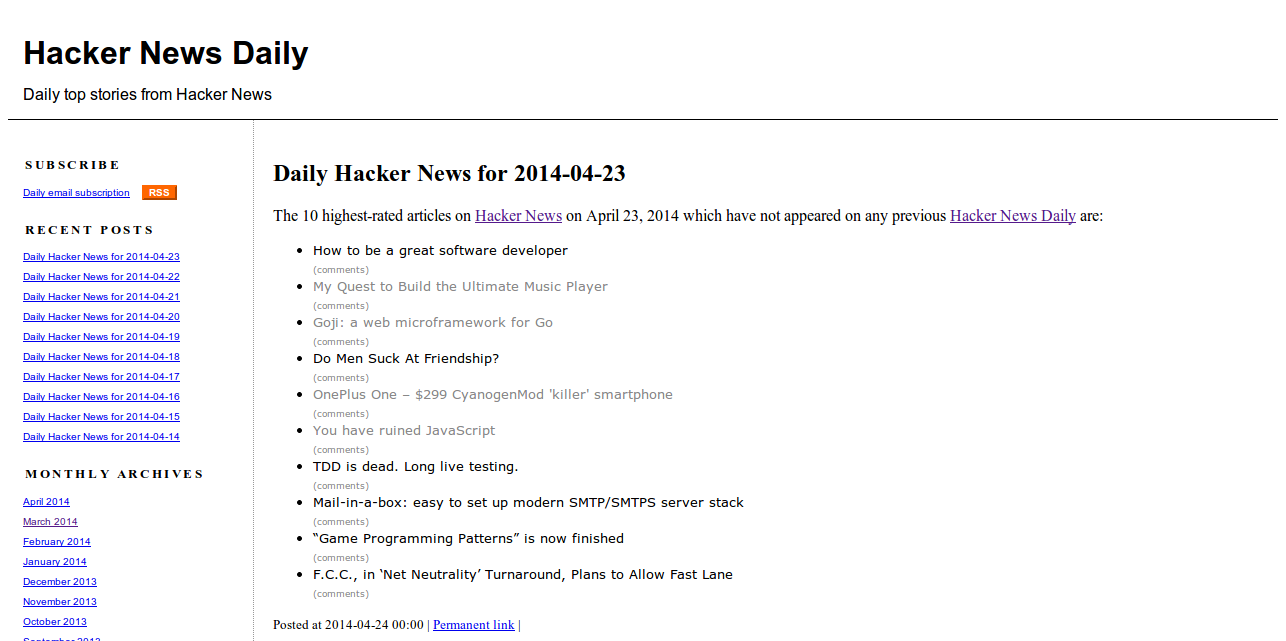 Hacker News Daily