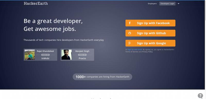 HackerEarth   Programming challenges and Developer jobs