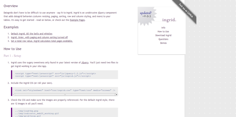 Ingrid the jQuery Datagrid.