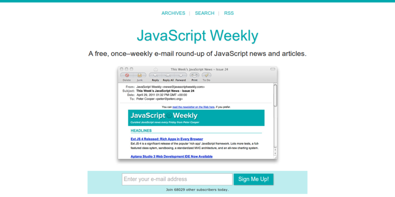 JavaScript Weekly  A Free  Weekly Email Newsletter